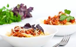 Pâtes avec de la sauce bolonaise Photo libre de droits