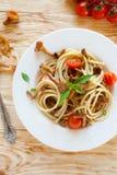 Pâtes avec des champignons de chanterelle, vue supérieure Photo libre de droits
