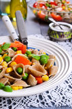Pâtes avec des légumes Photos libres de droits