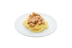Pâtes avec la sauce aux champignons Photographie stock