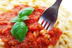 Pâtes avec la sauce tomate Photo stock