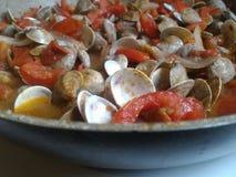 pâtes avec les palourdes et la tomate fraîche Image libre de droits