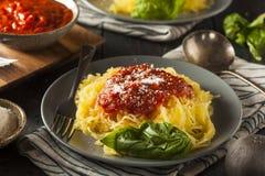 Pâtes cuites faites maison de courge de spaghetti image stock