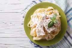Pâtes d'Alfredo en sauce crème avec le poulet vue supérieure horizontale Images libres de droits