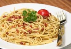 Pâtes de carbonara de spaghetti Photos stock