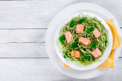 Pâtes de Fettuccine de saumons et d'épinards sur les plats blancs Images stock