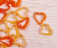 Pâtes de forme de coeur Image stock