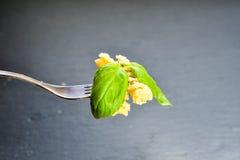 Pâtes de Fusilli sur la fourchette Image libre de droits