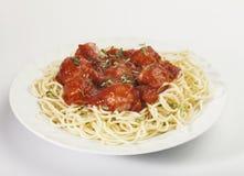 Pâtes de spaghetti avec la sauce de boulette de viande et tomate Images libres de droits