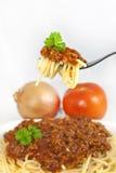 Pâtes de spaghetti sur la fourchette Photographie stock