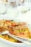 Pâtes et fruits de mer Photo libre de droits