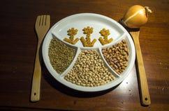 Pâtes et haricots de nourriture de Helthy Photo stock