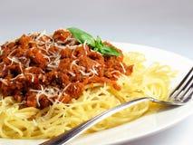 Pâtes et sauce de spaghetti Image stock