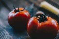 Pâtes et tomates Photographie stock libre de droits