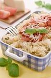 Pâtes faites maison italiennes avec le che de sauce tomate, de basilic et de parmesan Image libre de droits