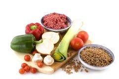 Pâtes fraîches d'ingrédients image stock