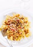 Pâtes italiennes avec des champignons de couche Images libres de droits