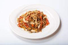 Pâtes italiennes avec le poulet et poivrons dans un plat blanc sur un fond clair Images stock