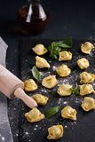Pâtes italiennes avec les épinards et le ricotta Photographie stock libre de droits