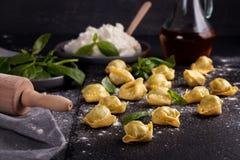 Pâtes italiennes avec les épinards et le ricotta Photos stock