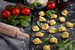 Pâtes italiennes avec les épinards et le ricotta Photographie stock