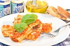 Pâtes italiennes de Cannelloni Photographie stock