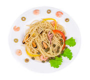 Pâtes italiennes savoureuses avec des fruits de mer Photo libre de droits