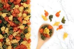 Pâtes tricolores de Trotolle photographie stock