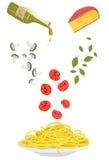 Pâtes végétariennes avec la tomate, Basil, champignons, fromage, recette d'huile d'olive illustration stock