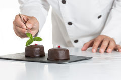 Pâtisserie avec un gâteau Photos libres de droits