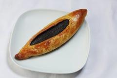 Pâtisserie douce de la plaque blanche Images stock