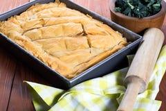 Pâtisserie faite maison de Grec de Spanakopita Photographie stock
