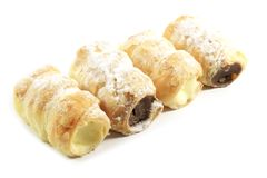 pâtisseries de klaxon remplies par crème Photographie stock libre de droits