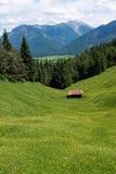 Pâturage alpin avec des montagnes, une hutte et un pré images stock