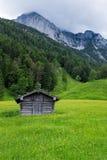 Pâturage alpin avec des montagnes, une hutte et un pré images libres de droits