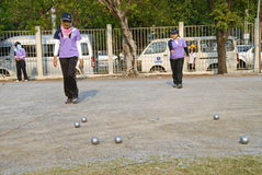 Pétanque chalege in thailand Royalty Free Stock Images