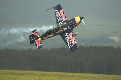 Péter Besenyei piloting Extra 300S Stock Photos
