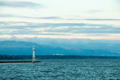 Pâquis latarni morskiej/Phare des Pâquis, Genewa - Zdjęcia Stock