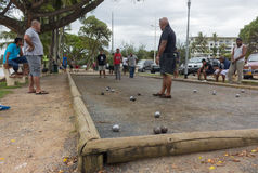 Pétanque比赛在努美阿 免版税库存图片