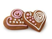 Pães do gengibre da forma do coração Imagem de Stock