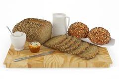 Pão, bolo, bolo, cookie, leite ilustração do vetor