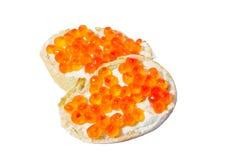Pão branco com caviar Foto de Stock