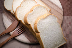 Pão branco a comer na manhã Foto de Stock