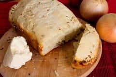 Pão caseiro com cebola e queijo Imagem de Stock