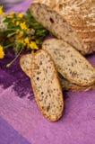Pão caseiro com flores Foto de Stock Royalty Free