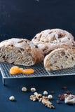 Pão caseiro com fruis e as porcas secados Foto de Stock