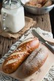 Pão com leite Imagens de Stock