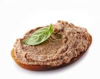 Pão com pasta de fígado foto de stock