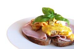 Pão com presunto e ovos Foto de Stock Royalty Free