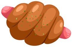 Pão com salsicha Fotografia de Stock